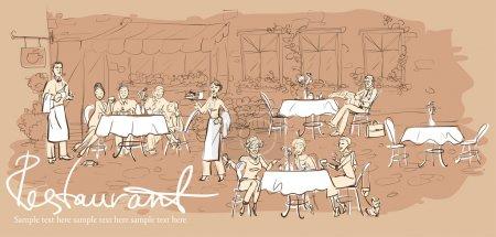 Illustration pour Personnes au restaurant, café en plein air - Fond horizontal dessiné à la main avec un échantillon de texte - image libre de droit