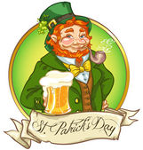 Leprechaun Irish man with beer St Patrick's Day logo design with space for text isolated