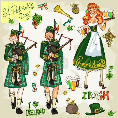 Illustration for St. Patrick's Day - hand drawn clip art collection. Doodles, isolated - Royalty Free Image