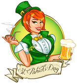 Leprechaun girl with beer and smoking pipe St Patrick's Day