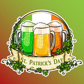 St Patrick's Day label with ribbon banner and sample text