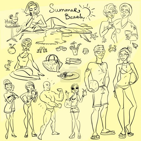 Beach people, summer doodles