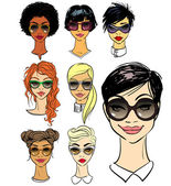 Women faces in sunglasses different fashion styles isolated on white hand drawn