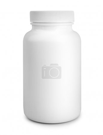 Medicine white pill bottle isolated on white background