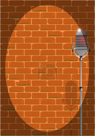 Illustration for A microphone ready on stage against a brick wall as a background to text or images. - Royalty Free Image