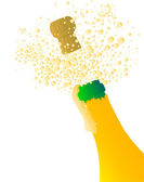 Champagne bottle being opened with froth and bubbles over a white background