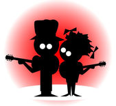 Silhouette of a cartoon character duo with guitars