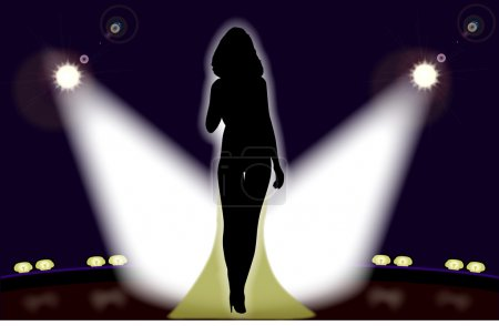 Illustration for Sexy girl on stage in front of the spotlights - Royalty Free Image
