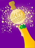 Champagne bottle being opened with froth and bubbles with a large bubble exclaiming 'Happy Anniversary