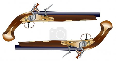 A pair of old style flintlock duelling pistols iso...