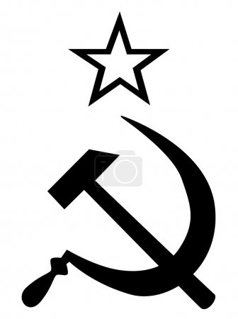 Hammer and Sickle in silhouette set on a white bac...
