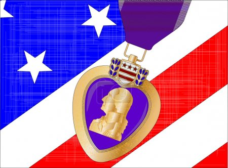 The 'Stars and Stripes' flag with a purple heart m...