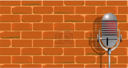 Illustration for A microphone ready on stage against a brick wall. - Royalty Free Image