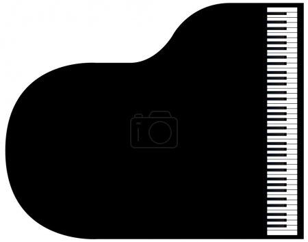 Illustration pour Vue de dessus d'un piano à queue sur un fond blanc. - image libre de droit