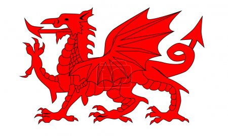 The Welsh Dragon isolated over a white background....