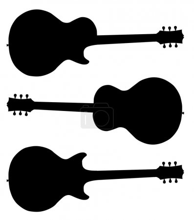Illustration for A collection of guitar silhouettes isolated on white - Royalty Free Image