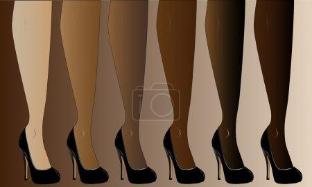 Illustration pour Jambes dans différentes teintes de peau, toutes portant des talons aiguilles guérit. - image libre de droit