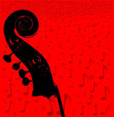 Double bass headstock and pegs over a red music notation poster background