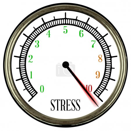 Illustration for A round style stress meter isolated on a white background - Royalty Free Image