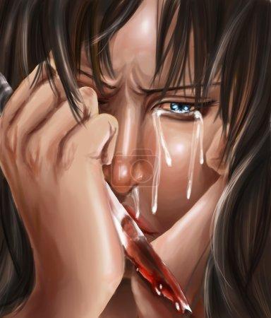 Foto de Un remordimiento y expresión culpable de realización cuando alguien conseguir se partió desde el estado emocional de vuelta a la realidad. lo que he hecho? - Imagen libre de derechos