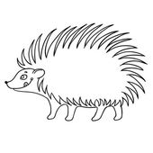 Cute hedgehog vector on white background