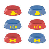 Set of bowls for cats and dogs with a pattern