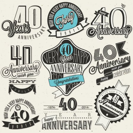 Photo for Forty anniversary design in retro style. Vintage labels for anniversary greeting. Hand lettering style typographic and calligraphic symbols for 40 anniversary. - Royalty Free Image