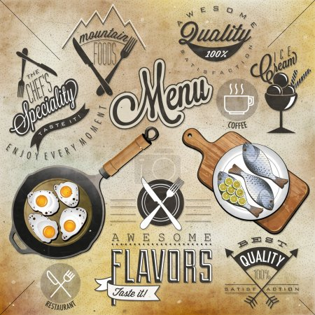 Illustration for Set of Calligraphic titles and symbols for restaurant. Hand lettering restaurant menu design. Orange, melon and apple illustrations. Fast Food. Vector - Royalty Free Image