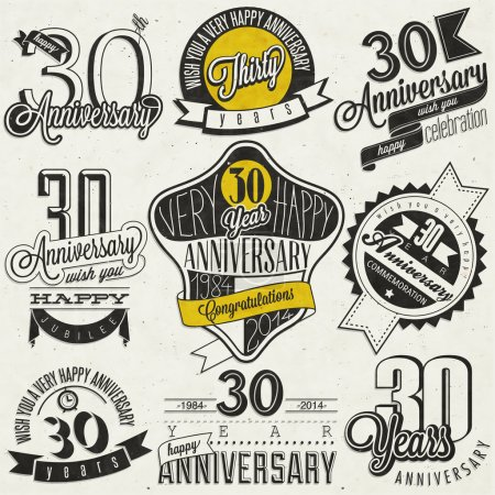 Photo for Thirty anniversary design in retro style. Vintage labels for anniversary greeting. Hand lettering style typographic and calligraphic symbols for 30 anniversary - Royalty Free Image