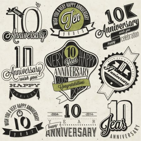 Photo for Ten anniversary design in retro style. Vintage labels for anniversary greeting. Hand lettering style typographic and calligraphic symbols for 10 anniversary. - Royalty Free Image