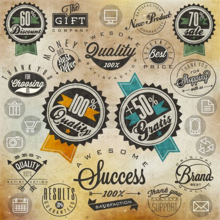 Illustration for Thank you for choosing us, for your support, for shopping with us. Retro vintage style, hand lettering - Royalty Free Image