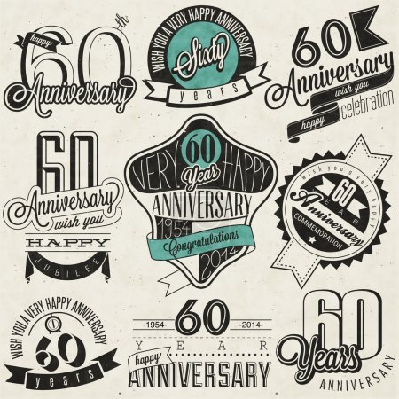 Photo for Sixty anniversary design in retro style. Vintage labels for anniversary greeting. Hand lettering style typographic and calligraphic anniversary symbols - Royalty Free Image