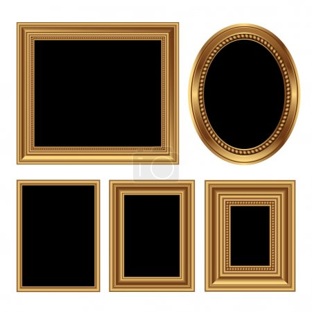 Illustration for Golden antique frames for your pictures. Vector illustration - Royalty Free Image