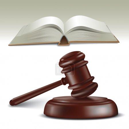 Illustration pour Le marteau et le livre du juge en bois. Illustration vectorielle - image libre de droit