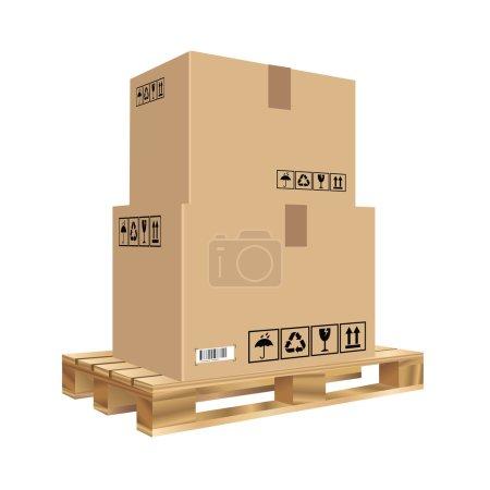 Ilustración de Cajas de cartón en una plataforma de madera. ilustración vectorial - Imagen libre de derechos