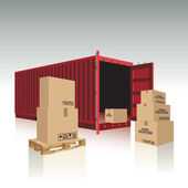 Open container with cardboard boxes Vector illustration