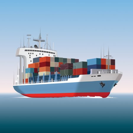 Illustration for Cargo container ship sailing. Vector illustration - Royalty Free Image