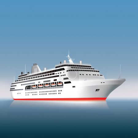 Illustration for Big cruise ship on the sea or ocean. Vector illustration - Royalty Free Image
