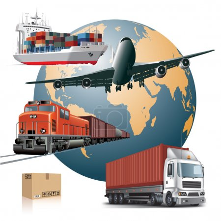 Illustration pour Concept mondial de transport de marchandises. Illustration vectorielle - image libre de droit