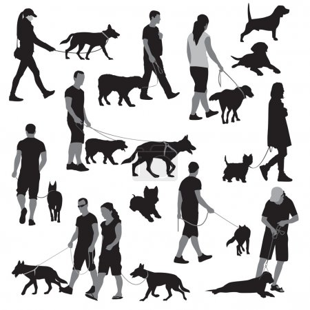 Illustration pour Marcher avec des chiens. Illustration vectorielle - image libre de droit