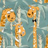 Seamless vector pattern of giraffes