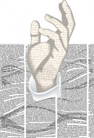 Illustration for Vector silhouette of hand with handwriting text texture in waves of newspaper columns texture. Seamless blocking with pattern in Text Back WAVE pattern - Royalty Free Image