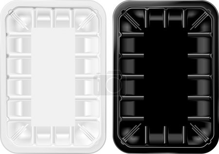 Transparent and black plastic tray