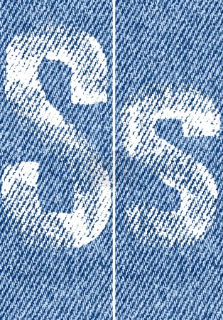 Vector letters and numbers on denim S