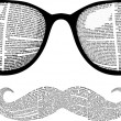 Vector set of retro sunglasses and mustaches silho...