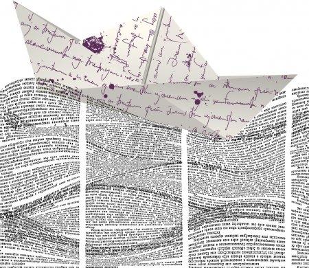 Illustration pour Bateau en papier vectoriel flottant sur un motif sans couture avec des vagues de colonnes de journaux. Texte dans la page du journal illisible . - image libre de droit