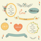 Sweet  wedding set elements in retro style with plates frames nadpesyami birds flowers vector