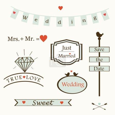 Illustration pour Élégants éléments de mariage, logos, étiquettes, symboles, texte, vecteur, boîte, diamant, oiseaux, vecteur coeur - image libre de droit