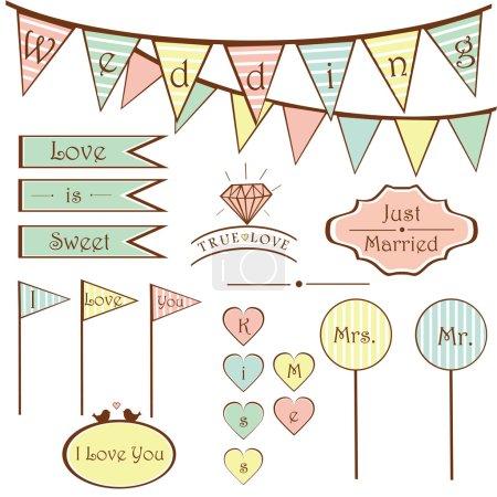 Illustration pour Ensemble de mariage vintage mignon éléments et signes, drapeaux, cadres vecteur - image libre de droit