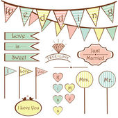 Cute vintage wedding set elements and signs flags frames vector